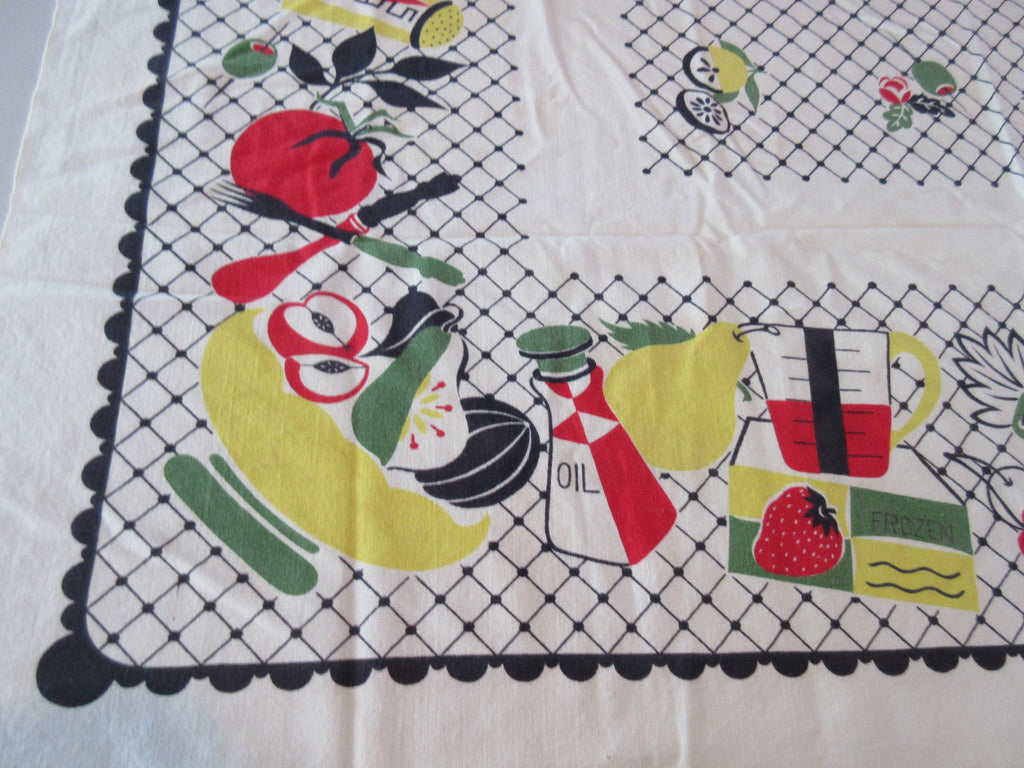 Kitschy Primary Food on Black Grid Novelty Vintage Printed Tablecloth (44 X 44)