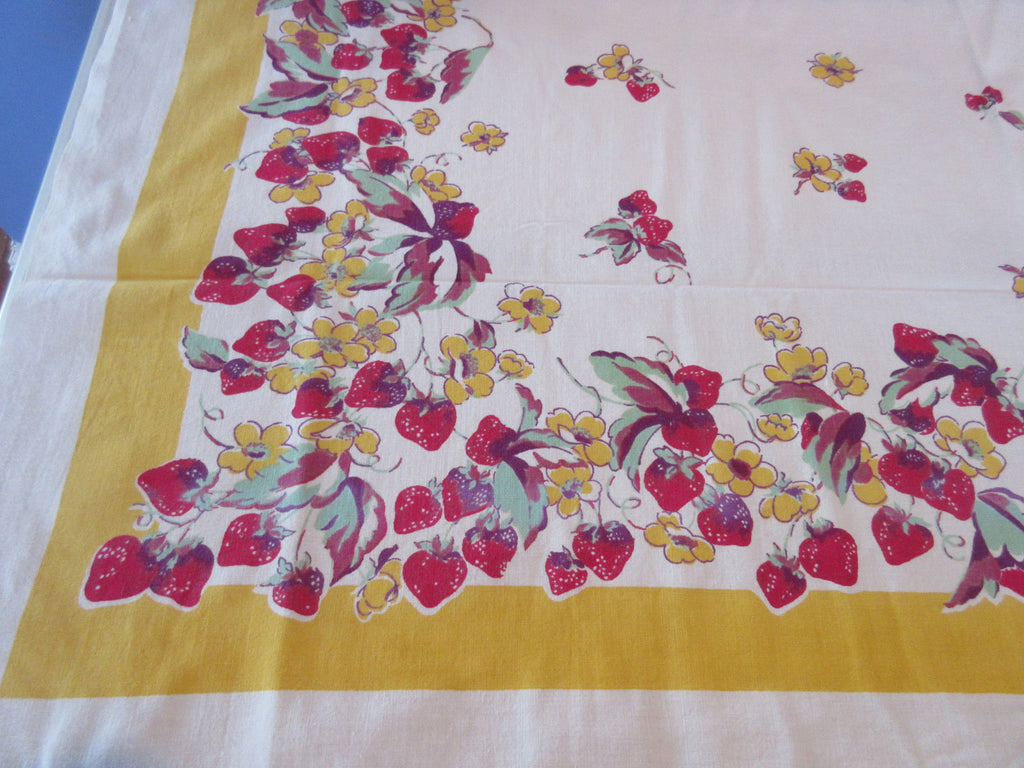 Early Wilendur Red Green Strawberries on Yellow Vintage Printed Tablecloth (51 X 46)