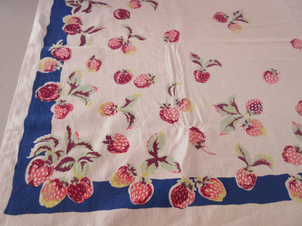 Shabby Red Green Strawberries on Blue Vintage Printed Tablecloth (49 X 49)