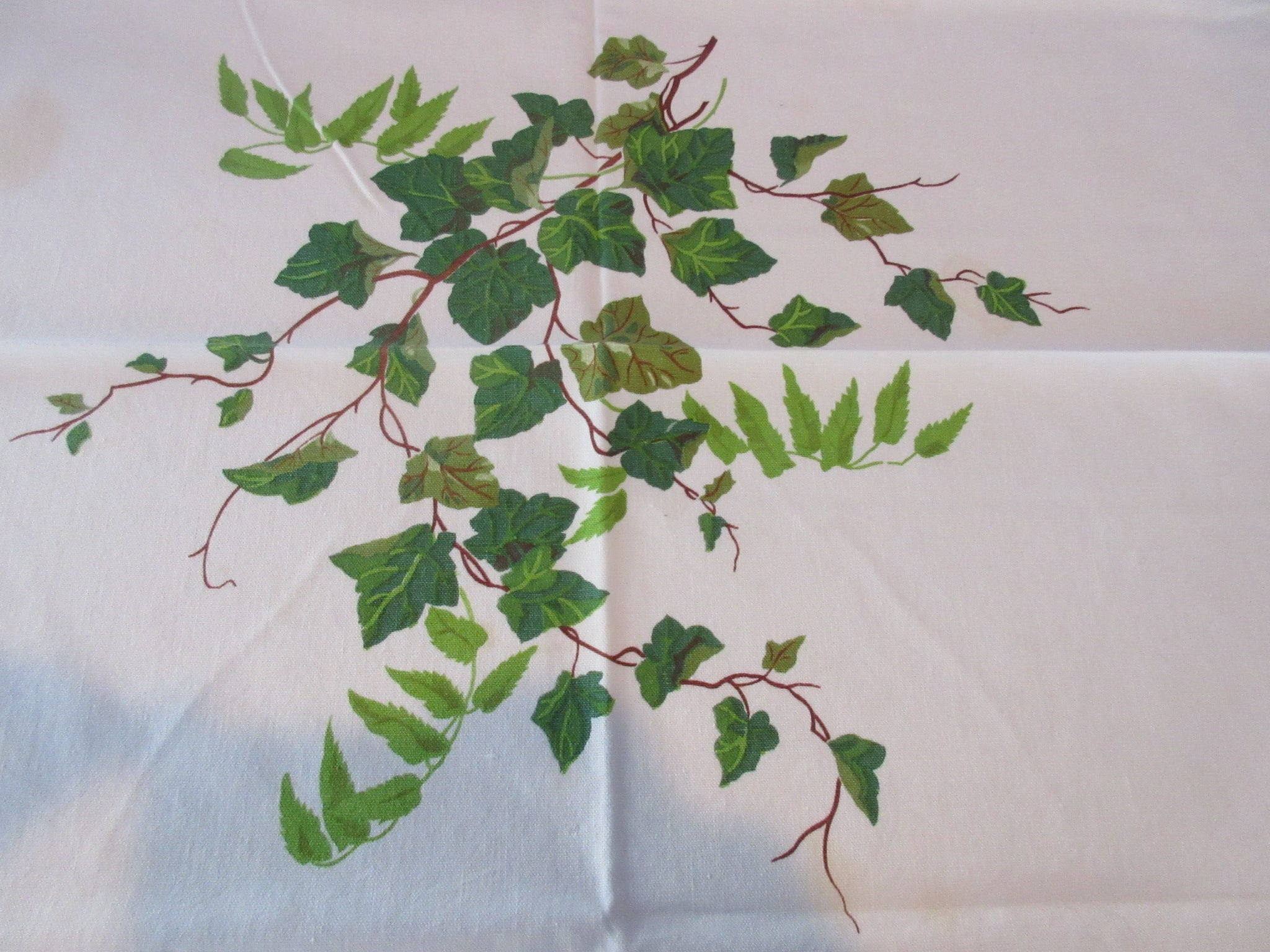 Stained Wilendur Green Ivy Cutter? Vintage Printed Tablecloth (53 X 50)
