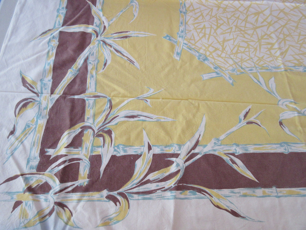 Yellow Brown Shabby Bamboo Cutter? Vintage Printed Tablecloth (50 X 44)