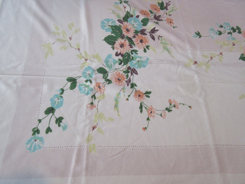 Large Morning Glories on Pink Tan Stains Vintage Printed Tablecloth (82 X 60)