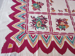Teal Magenta Fruit Zigzags NWOT Vintage Printed Tablecloth (49 X 46)