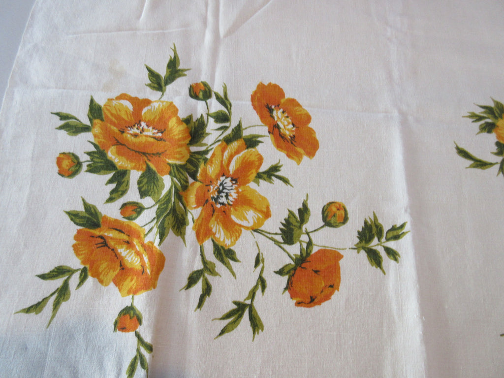 Apricot Olive Peonies on Oatmeal Linen Vintage Printed Tablecloth (51 X 50)