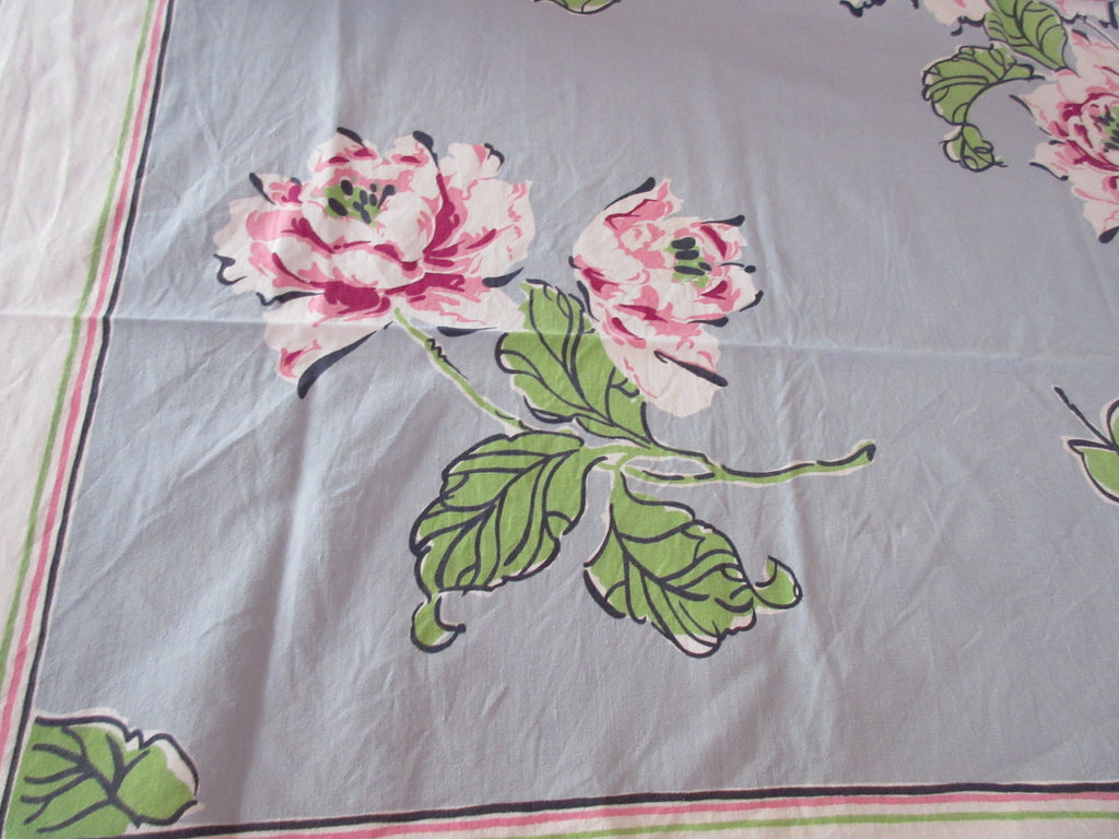 Parisian Prints Pink Green Roses on Gray Floral Vintage Printed Tablecloth (52 X 49)
