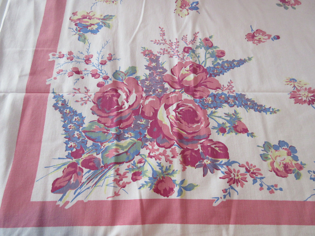 Pastel Springmaid Roses on Pink Floral Vintage Printed Tablecloth (52 X 45)