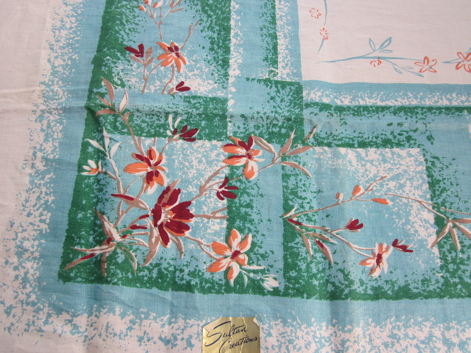 Melon Daisies on Aqua Green Linen Floral MWT Vintage Printed Tablecloth (53 X 51)