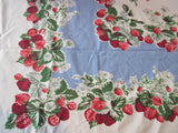 Bright Red Green Strawberries on Blue Cutter? Vintage Printed Tablecloth (51 X 45)