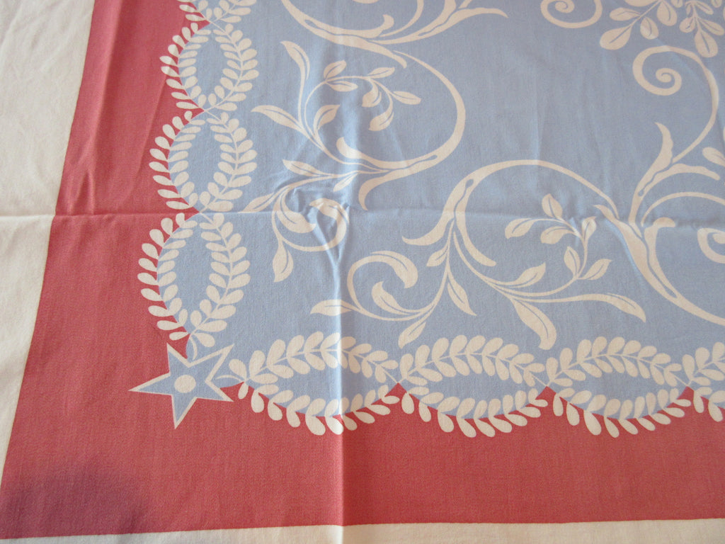 Blue Pink Scrolls Novelty Vintage Printed Tablecloth (52 X 46)