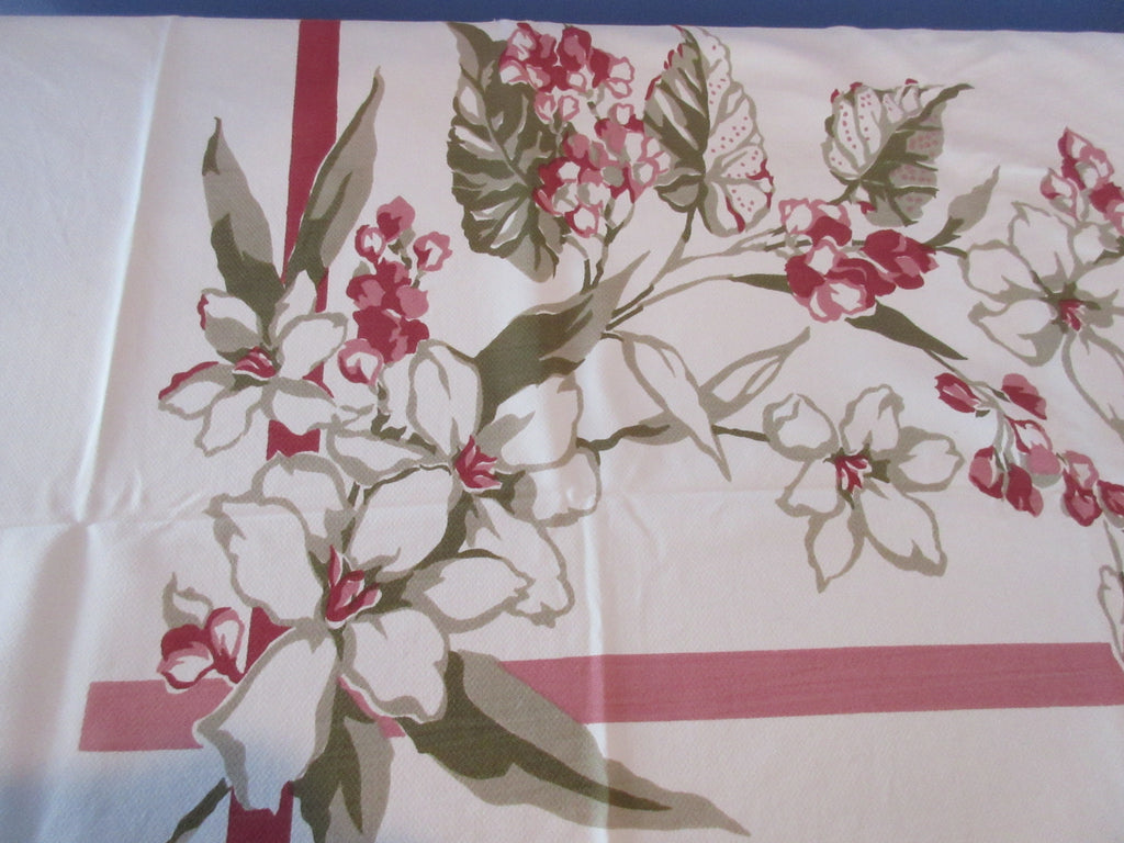 Magenta Green Large Floral Cutter Vintage Printed Tablecloth (75 X 61)