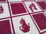 Bright Early Magenta Kitchen Teapots Silverware Vintage Printed Tablecloth (47 X 45)