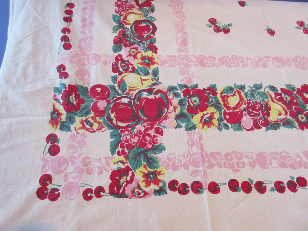 Primary Fruit on Pink Sheeting Vintage Printed Tablecloth (72 X 54)
