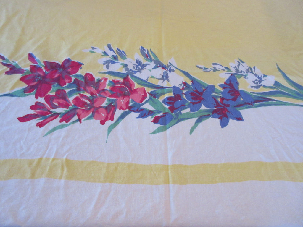 Large Gladioli on Yellow Floral Vintage Printed Tablecloth (70 X 60)
