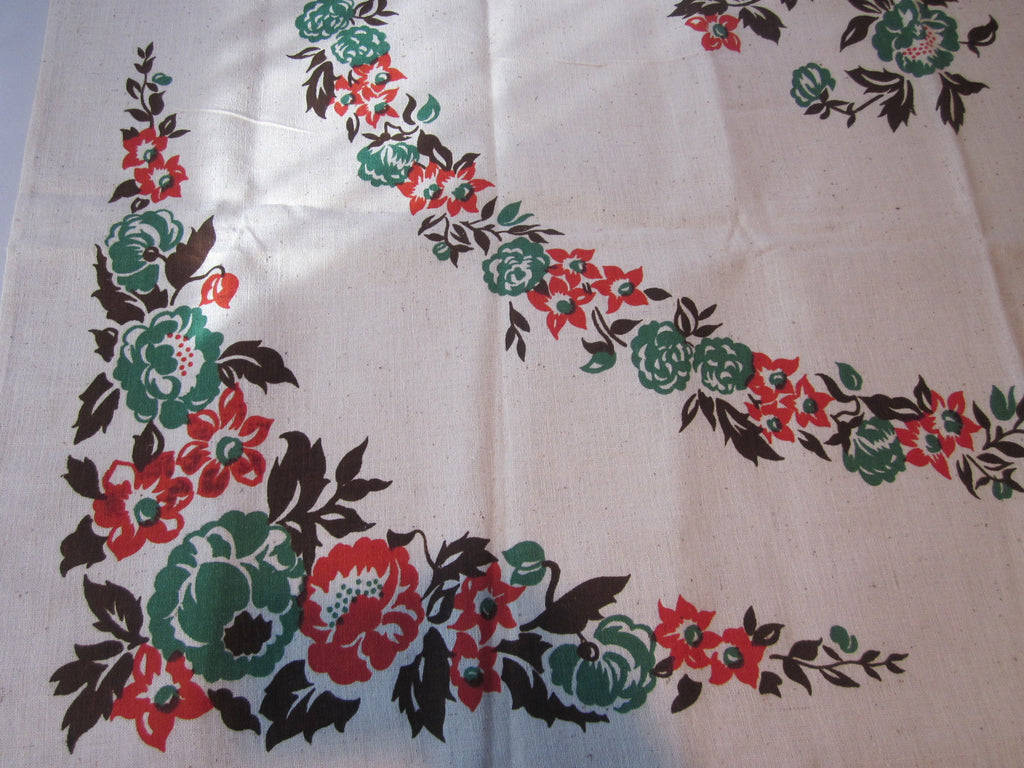 Rustic Green Orange Brown Fall Roses Floral MWT Vintage Printed Tablecloth (48 X 48)