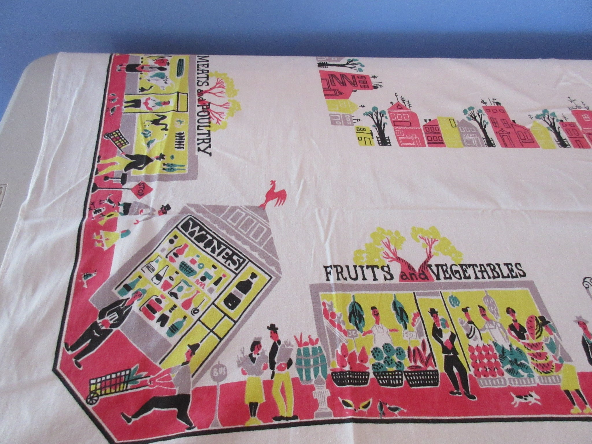 Funky Red Yellow Shops Shopping Novelty Vintage Printed Tablecloth (61 X 50)