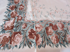 CHP Brown Magnolia? Branches on Teal Floral Vintage Printed Tablecloth (61 X 53)