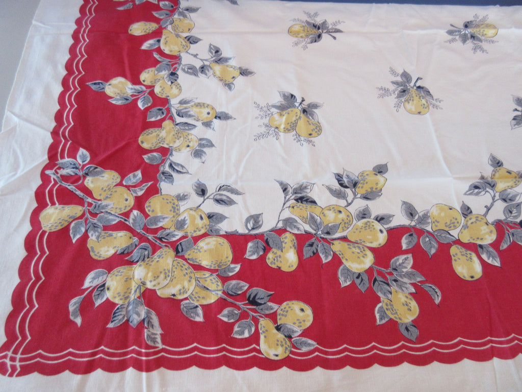 Yellow Black Pears on Red Sheeting Fruit Vintage Printed Tablecloth (44 X 43)