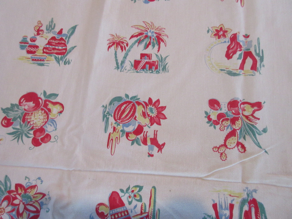 Mexican Vignette Yardage Fabric Vintage Printed Tablecloth (116 X 36)