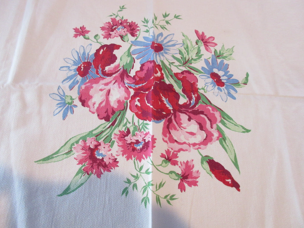 St Regis Pink Blue Iris Array Floral Vintage Printed Tablecloth (49 X 47)
