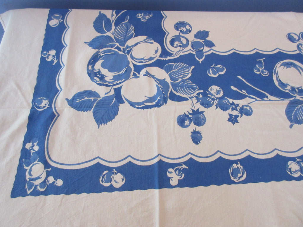 Flow Blue Fruit Single Color Vintage Printed Tablecloth (69 X 57)