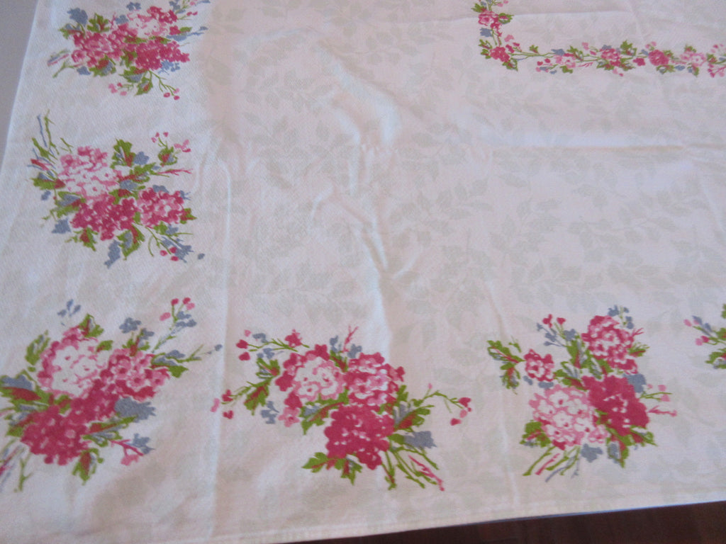 Pink Posies on Sage Green Pattern Floral Vintage Printed Tablecloth (50 X 49)