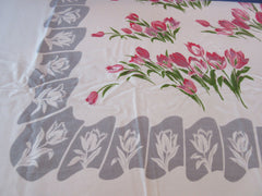 Large Shabby Pink Tulips on Gray Floral Vintage Printed Tablecloth (73 X 58)