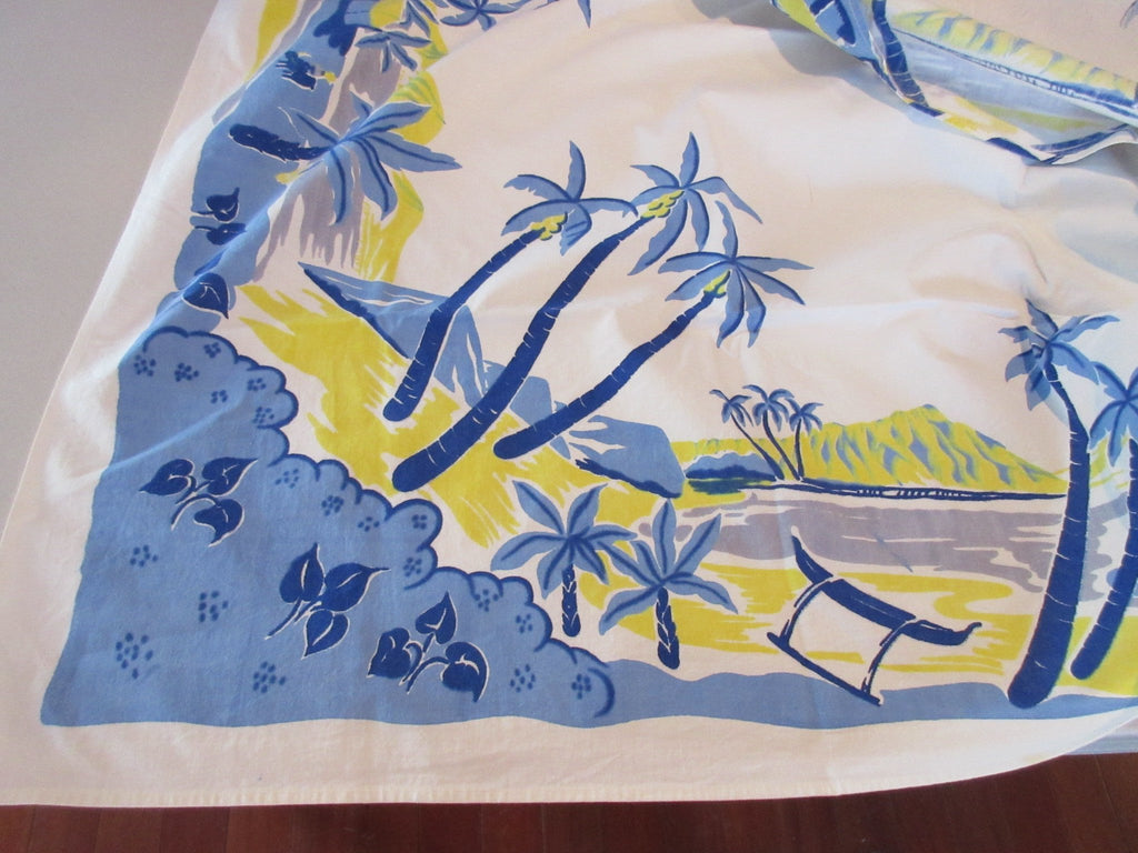 Trimmed Blue Yellow Tropical Island Palm Trees Novelty Vintage Printed Tablecloth
