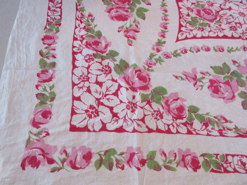Shabby Pink Green Roses on Red Linen Floral Vintage Printed Tablecloth (52 X 48)
