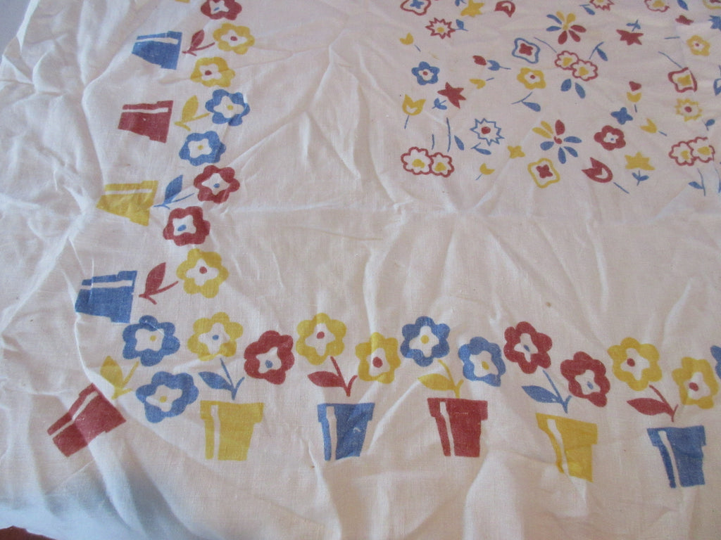 Shabby Early Flowerpots Brown Blue Linen Floral Vintage Printed Tablecloth (52 X 49)