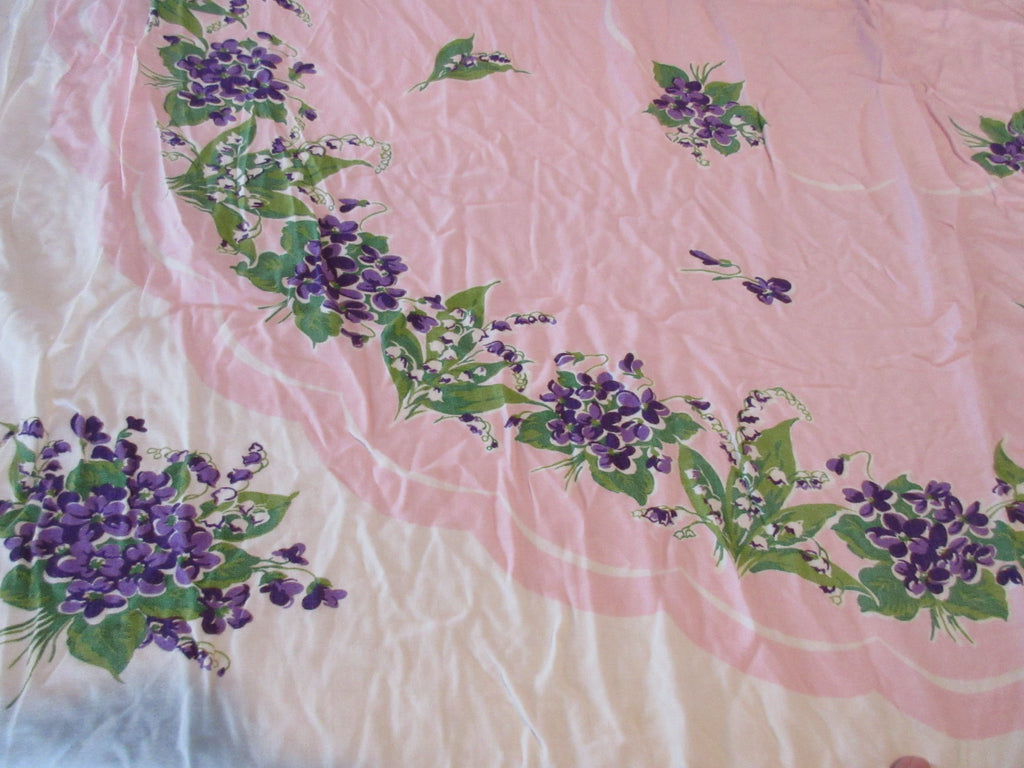 Marlene Violets on Pink Floral Vintage Printed Tablecloth (50 X 40)
