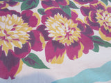 Larger Magenta Peonies on Aqua Floral Vintage Printed Tablecloth (62 X 52)