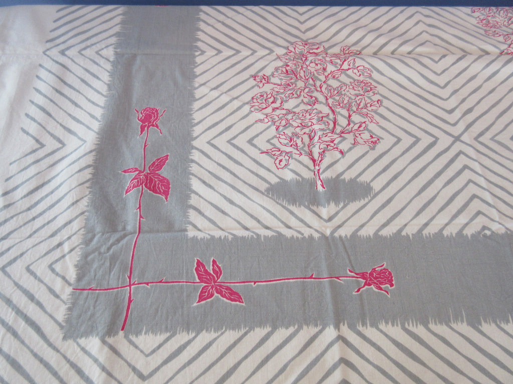 Wild Pink Roses on Gray stripes Geometric Floral Vintage Printed Tablecloth (52 X 43)