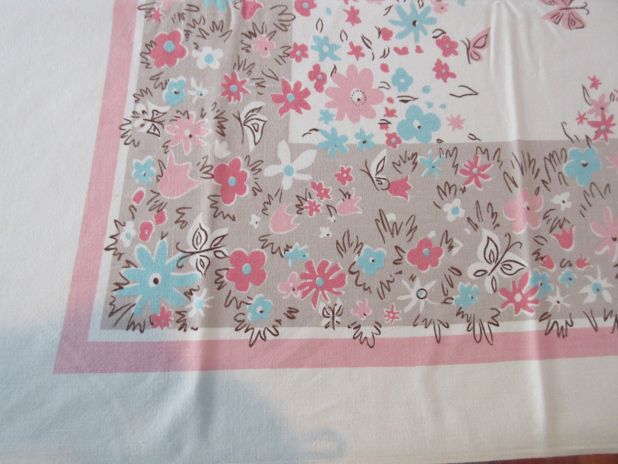 Unusual Tan Pink Aqua CHP Butterflies Floral Vintage Printed Tablecloth (63 X 51)