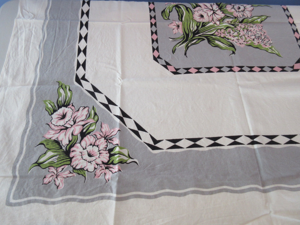 Bright Pink Green Daffodils on Gray Floral Vintage Printed Tablecloth (44 X 44)