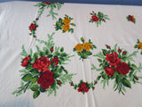 Bright Scarlet Red and Yellow Roses Floral Vintage Printed Tablecloth (67 X 48)