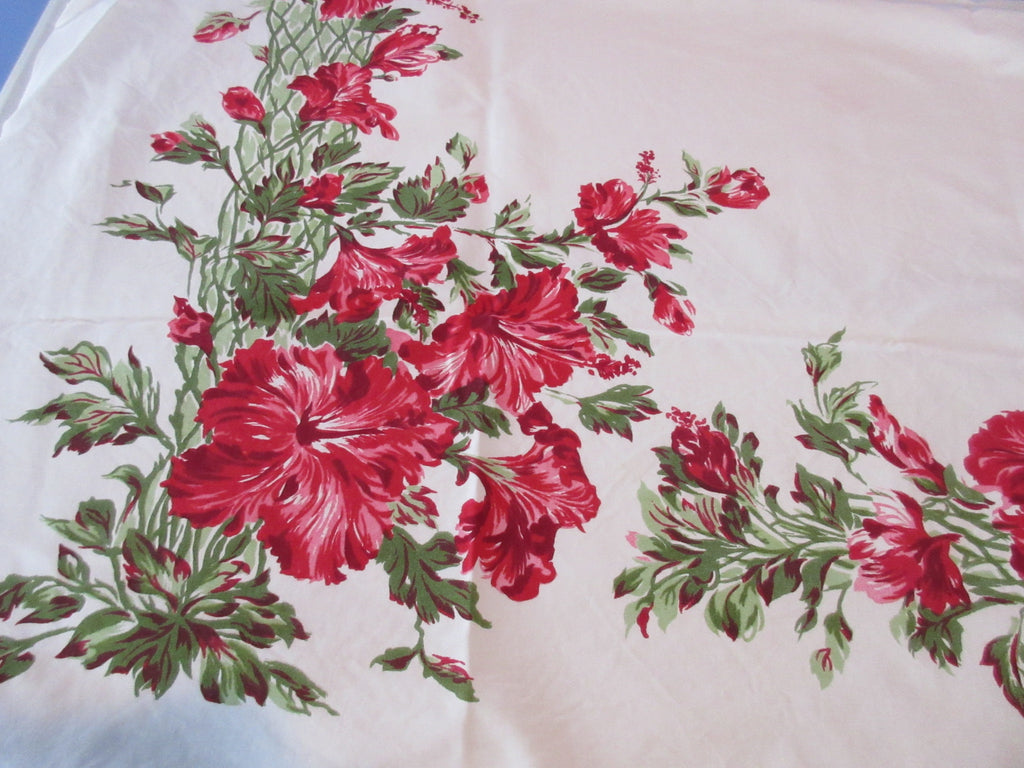 CHP Red Green Hibiscus Cutter? Floral Vintage Printed Tablecloth (51 X 45)