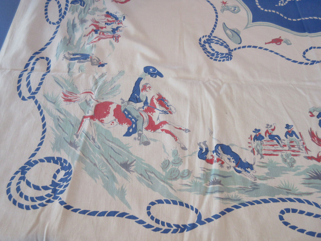 CUTTER Blue Cowboy Ranch Novelty Vintage Printed Tablecloth (51 X 48)