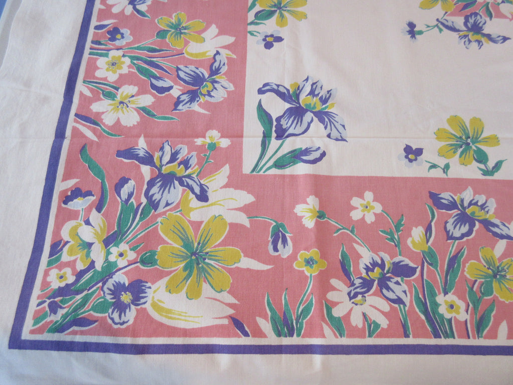 Blue Yellow Iris on Pink Floral Vintage Printed Tablecloth (51 X 45)
