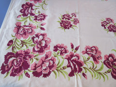Coral Pink Magenta Carnations Floral Vintage Printed Tablecloth (62 X 49)