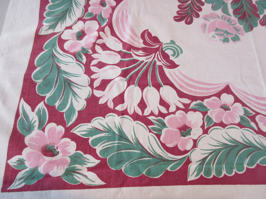 Shabby Pink Peonies on Magenta Floral Vintage Printed Tablecloth (47 X 46)