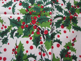 Christmas Holly Berries MWT Vintage Printed Tablecloth (53 X 52)