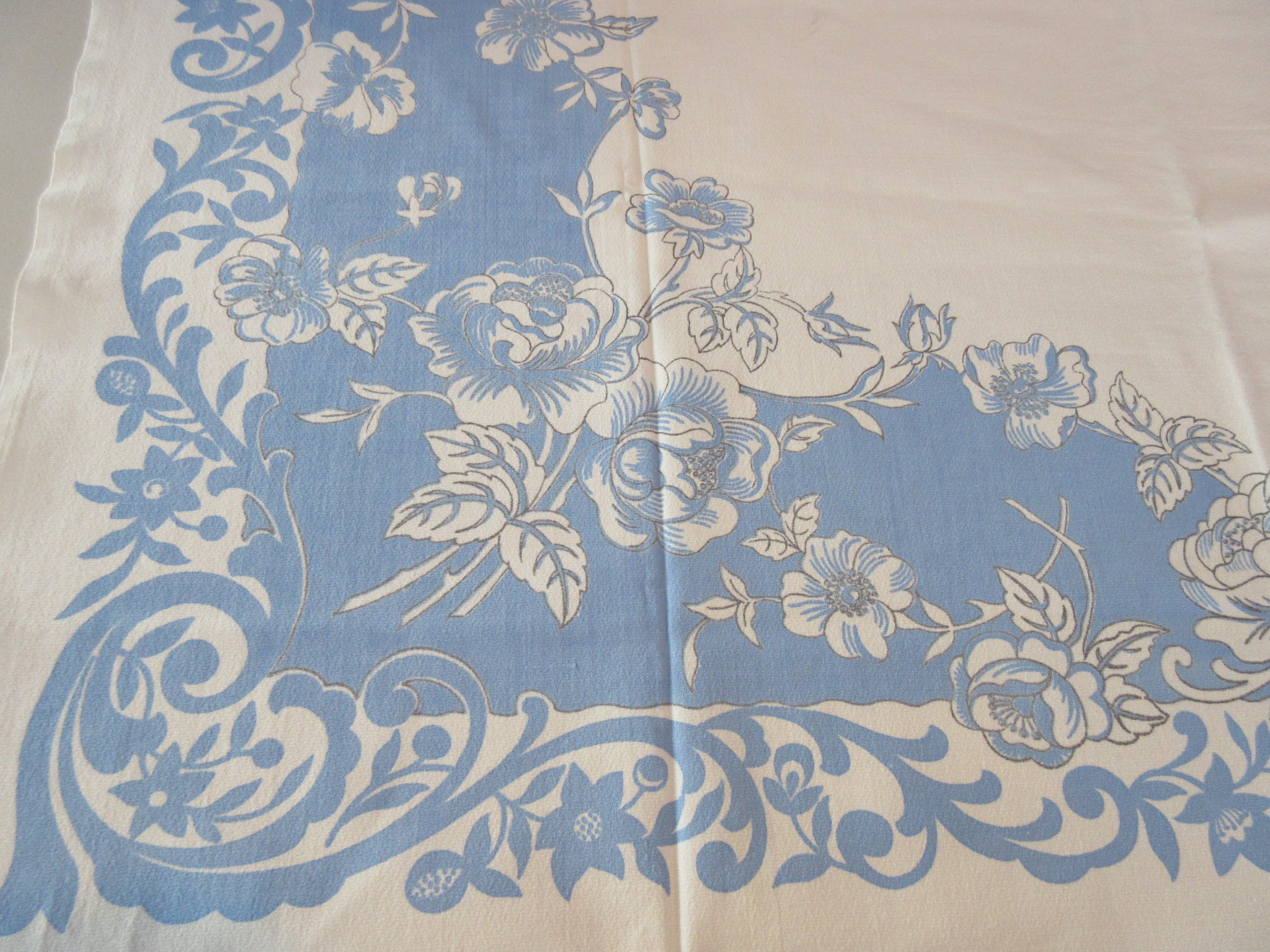 Peonies on French Blue Scrolls Floral Vintage Printed Tablecloth (46 X 46)