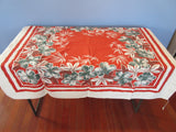 Shabby Teal Hibiscus on Orangey Red Floral Vintage Printed Tablecloth (52 X 46)