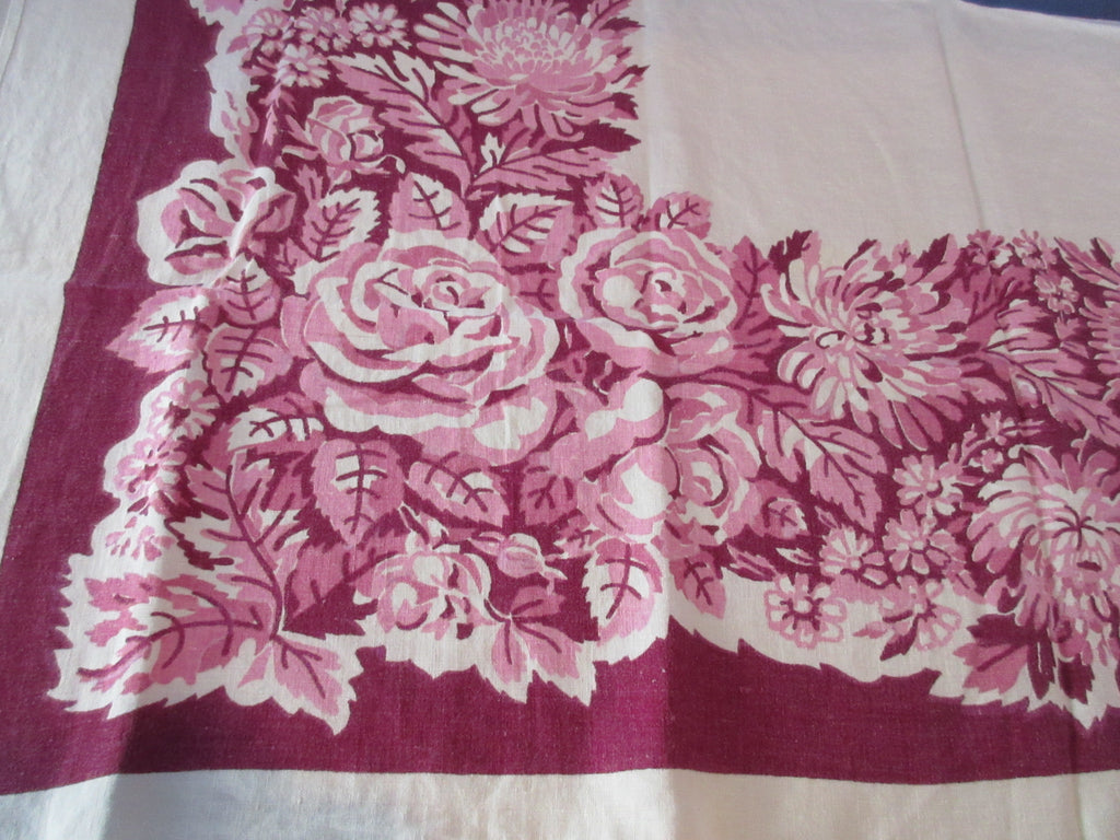 Pink Roses on Magenta Linen Floral Vintage Printed Tablecloth (48 X 46)