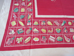 Shabby Red Calories on Red Novelty Vintage Printed Tablecloth (53 X 45)