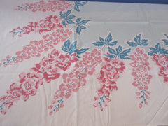 CHP Shabby Pink Delphiniums on Aqua Floral Vintage Printed Tablecloth (51 X 46)