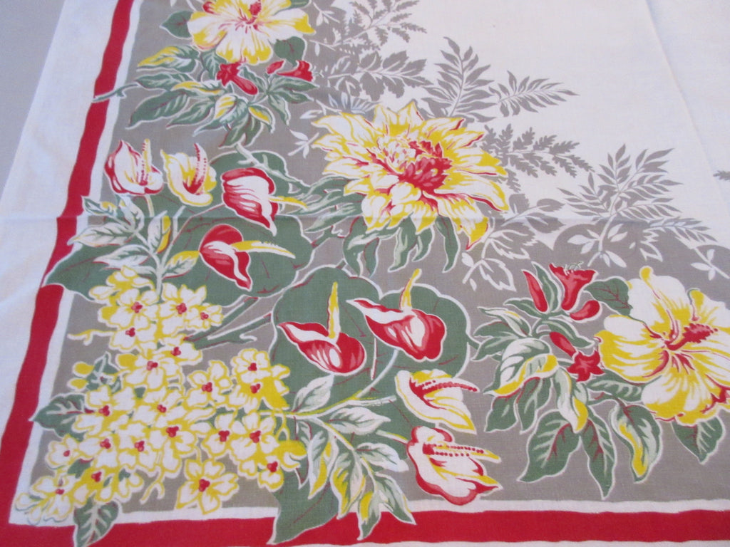 Red Yellow Hibiscus on Gray Cutter? Floral  Vintage Printed Tablecloth (49 X 46)