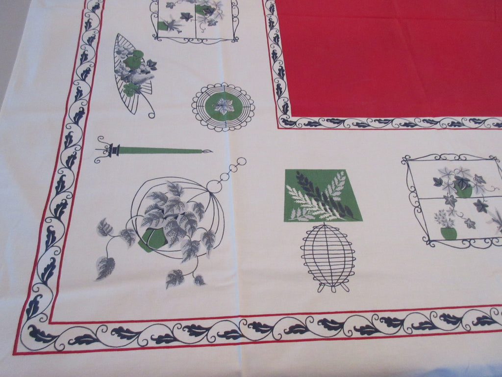 Wrought Iron Kitchen on Red Novelty Vintage Printed Tablecloth (47 X 46)