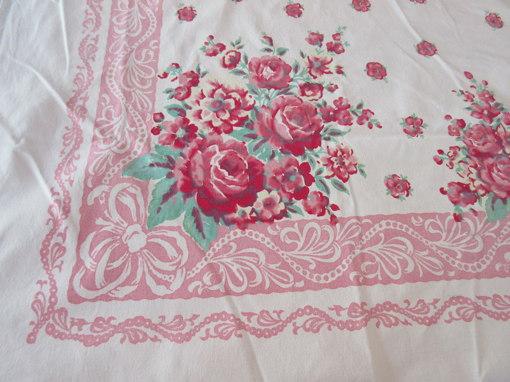 Shabby Heavy Pink Roses on Lace Floral Vintage Printed Tablecloth (67 X 56)