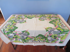 Shabby Town Center Family Picnic Novelty Vintage Printed Tablecloth (52 X 43)